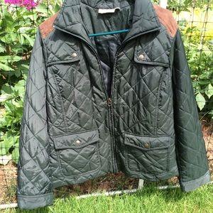 Croft &Barrow olive green jacket suede shoulder
